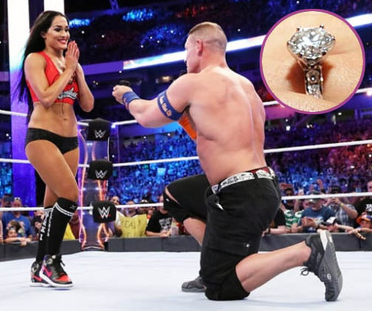 Wrestling Superstar John Cena Puts a Diamond Ring on Nikki Bella at WrestleMania 33