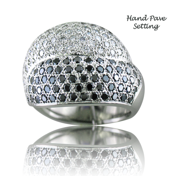Black & White Diamond Pave Ring 2