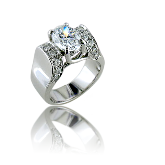Oval Chatham Diamond Ring