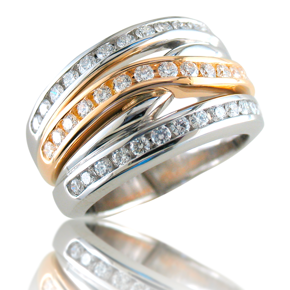 Platinum & 18K Yellow Gold Channel Band