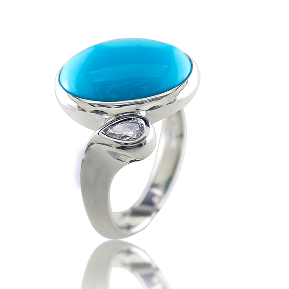 Ladies Turquoise By-Pass Ring-11