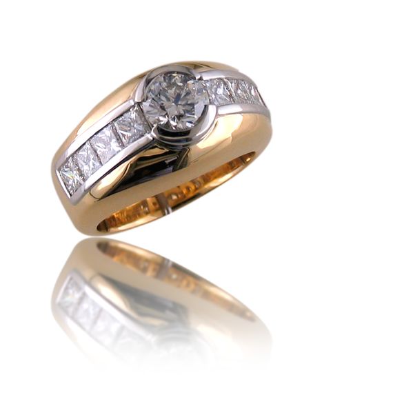 18K Yellow Gold & Platinum Ring